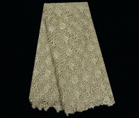 YW38-15!gold!top selling African cotton guipure lace fabric,pretty flower embroidery water soluble lace for women dress!