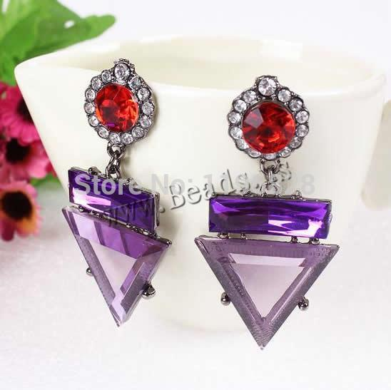 Free shipping!!!Fashion Statement Earring,Jewelry Blanks, Zinc Alloy, with Crystal, stainless steel post pin, Triangle(China (Mainland))