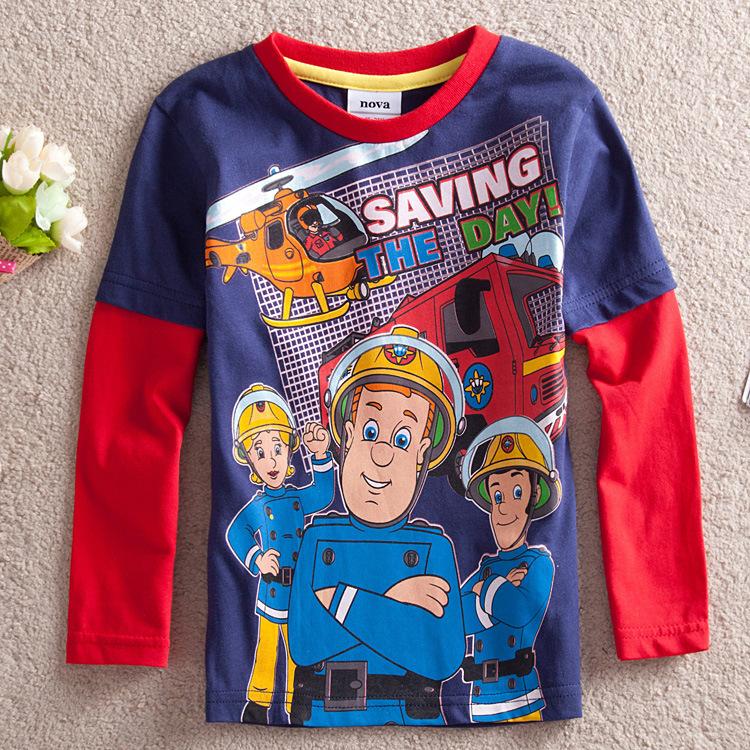 Fast Shipping Baby & Kids Toddler Boys Clothing Meninos Fireman Sam Clothes Cartoon Long Sleeve 100% Cotton Boy's T Shirt(China (Mainland))