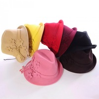 6pcs/Lot Beautiful Ladies Spring Floral Wool Fedoras Hats Stylish Women Felt Fedora Hat Lady Fall Trilby Cap Womens Winter Caps