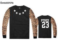 name brand pyrex vision sweatshirts leopard sleeve o neck men hip hop sweaters fashion skateboard sportswear streetwear clothing
