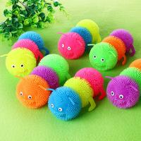 Hot new three night market stall Colorful LED flashing ball Children luminous caterpillar toy wholesale