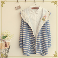 Autumn stripe brimmer lace long-sleeve with a hood outerwear spring and autumn outerwear Jackets coat