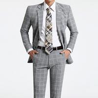 100% High quality Brand Fashion Korea Men suits slim Jacket + pants grid 2 buttons men's suit groom wedding dress