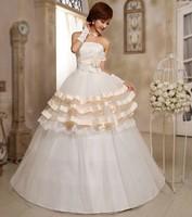 The new champagne serging 2014 sweet princess wedding dress