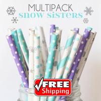 150pcs Mixed 6 Designs SNOW SISTERS Paper Straws Frozen,Winter,Lilac, Light Blue, Silver Striped, Swiss Dot, Sailor Stripe, Star
