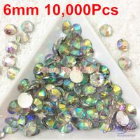 B1 Crystal AB Color 6mm 10000PCS 14 cutting Machine Cut Rhinestone Flatback Silver Foil COLOR  FREE SHIPPING
