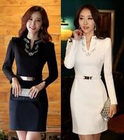 High Quality 2014 New Women Office Dress Long sleeve V-Neck Diamonds Autumn Winter White/black Casual Dress with Belt