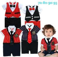 October BABY clothing wholesale 12680 summer BOYS stripe False vest short-sleeve Bow tie one piece Rompers 4pcs/lot
