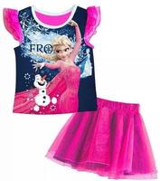 October Children's clothing wholesale 210992 GIRLS frozen princess flower T-SHIRT + SKIRTS 2 piece sets 5set/lot