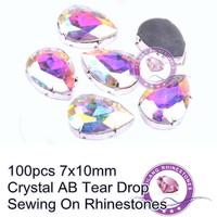 Crystal AB 100pcs Tear Drop With Silver Flatback Claw Sewing On Rhinestones 7x10mm