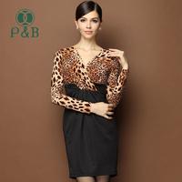 S-XL XXL XXXL High Waist Long Sleeve Deep V Neck Vestidos 2014 Plus Size Sexy Leopard Print Bodycon Bandage Dress