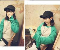 Korean College Women New 2014 Preppy Style Sweatshirt Contrast Color Casual T shirts sudaderas O-neck Sport Tops T18-45