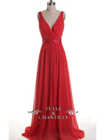 2014 Red A-Line V-Neck Formal Long Evening Dresses Elegant Chiffon Women Prom Pageant Gowns Dress