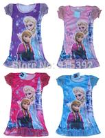 2015 New Frozen Dress Elsa&Anna Summer Dress For Girl Princess Dresses Brand Girls Dress Kids Clothing 4 Colors