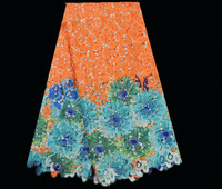 No.ASL42-3 orange,free shipping african guipure lace fabric,high quality african cord lace fabric online