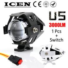 1 PCS 125W 2 Color Motorcycle Motorbike 3000LMW Upper Low Beam & Flash CREE U5 LED Driving Fog Spot Head Light Lamp Headlight(China (Mainland))