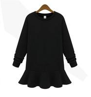 2014 Women Clothing Europe Knit Pullover Sweatshirts Flounced Hem Hoodies Elegant Tops Long Sleeve Tee Woman Hoody T11-73