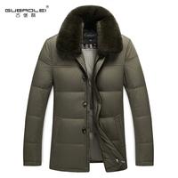 Men medium-long down coat thickening casual male DOWN JACKET MAN fur collar outerwear