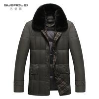 2014 business MEN DOWN JACKET casual winter thickening down coat male slim medium-long outerwear Men