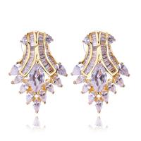 Fashion Jewelry AAA Cubic Zircon Stud earrings 18K Gold Romantic channel Earring for Women