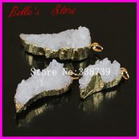 6PCS Gold Plated Druzy Pendant Wing Shape Nature White Crystal Quartz Cluster Pendant Druzy Drusy Gems Stone Pendant