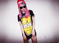 2014 Summer Fashion Harajuku Style Hip Hop t shirt Women Clothing Short Sleeve Tee Yellow Simpson Printed Shirt Tops T18-41