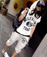 2014 Leisure Sport Brand Hoodies Sports Women Clothing Set Sweatsuit Sportwear Tracksuit Summer Hoodie + Capri Pants T18-43