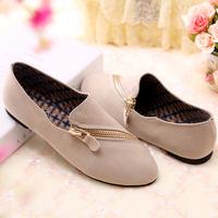2014 flat heel round toe shoes shallow mouth fashion oblique zipper comfortable women's shoes