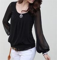 2014 Casual T shirt Women Clothing Chiffon Blouse Blousa Long Lantern Sleeve Tops Shirt Summer Top Tees High Quality T18-39