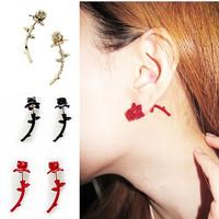 6 Colors France Romantic Rose Stub Earrings Flower Earrings