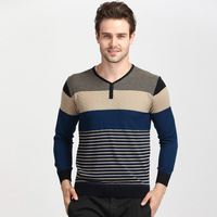 2014 new antumn and winter men's formal long sleeve t shirt stripe wool knit men's v-neck solid color Cardigan M-3XL