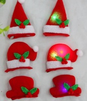 Wholesale 120pcs/lot more style Christmas BB head Hair Clips red Christmas hats flash led hairpin