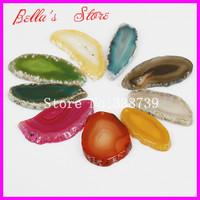 10PCS Nature Gems Agate Slice Druzy Pendant Freeform Mix Color Druzy Drusy Agate Slice Pendant Druzy Geode Quartz Pendant