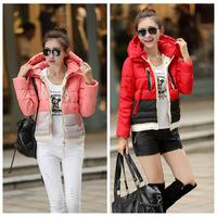 Hot 2014 winter women's down coat color block color block decoration personality down coat women down parkas DF-225