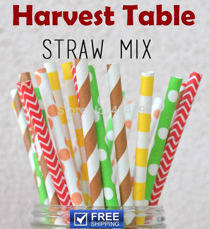 250pcs Mixed 5 Designs Harvest Table Thanksgiving Paper Straws,Brown,Orange,Yellow,Lime,Red,Striped,Dot,Chevron,Sailor Stripe(China (Mainland))