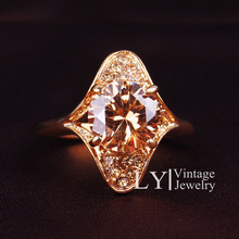 Wedding Rings Jewelry For Women CZ Imitation Diamond Paved Engagement Ring Wholesale 18K Gold Plated Crystal Series LY2613