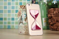 "100pcs/lot Free shipping 15colours Crystal clear sand hourglass timer PC skin cover case for iphone 6 4.7"" for iphone 6G cases"