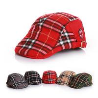 2014 Southern China autumn bonnet classics institute style children lattice Bailey hats baby duck tongue hat