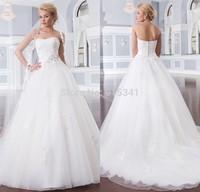 Romantic Ball Gown Strapless Lace Custom Made vestido de noiva 2014 Wedding Dress with Beading Flowers