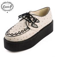 2014 Autumn Winter Women's creepers shoes vivi HARAJUKU polka dot fashion wedge punk shoes