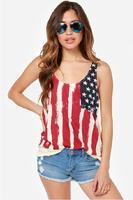 Flag Shirt Tops 2014 New  Fashion Women Tank Top  Low-cut Round Neck Chiffon Top Free Shipping