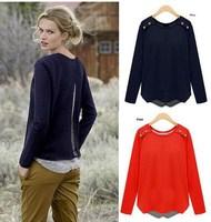 winter Vogue long sleeve T shirt Women Clothing Navy roupas camisetas femininas XL XXL 3XL 4XL Spliced Two Pieces Ladies Tops