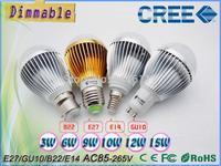 Wholesale CREE Dimmable 85-265V 220V 110V E27 E14 B22 GU10 GU5.3 9W 10W 12W 15W LED ball Bulb Lamp led spotlight
