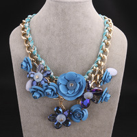 gold chain necklace, colorful necklace big chunky necklaces flower women  free shipping   FSN017-C