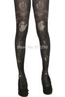 Freeship B3543 Brand Elastic Black Sexy Fashion Pattern Grimoire Vintage Women Tattoo Pantyhose Girl 2014 New Tights Stocking