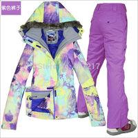2014 hot womens ski suit ladies snowboarding suit violet and yellow jacket + violet pants snow wear skiwear waterproof 10K XS-L