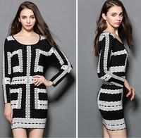 new arrival prom autumn women knitting cotton black white bodycon dresses  M4097