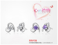 Fashion Sparkling 925 Sterling Silver Jewelry Love Heart Stud Earrings with Stones for Women Valentine Gift E6522