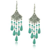 Elegant Antique Silver Earrings Vintage Fan Shape Long Water-drop Turquoise Dangle Earrings Brinco de turquesa
